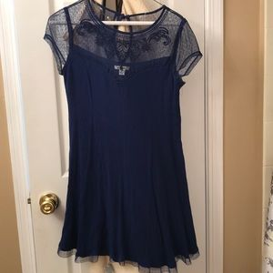 Navy Blue Miami Dress with Embroidered Mesh Detail